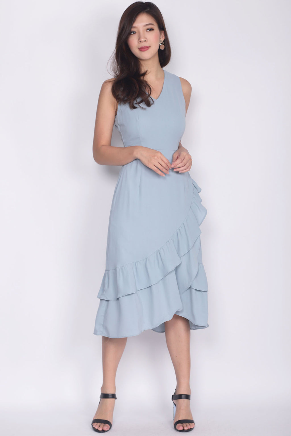 TDC Herlinda Tiered Fishtail Midi Dress In Ash Blue