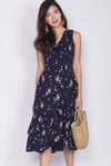 TDC Herlinda Tiered Fishtail Midi Dress In Navy Floral