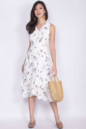 TDC Herlinda Tiered Fishtail Midi Dress In White Floral