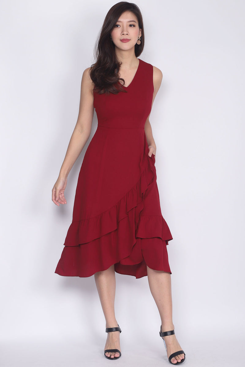 TDC Herlinda Tiered Fishtail Midi Dress In Wine Red