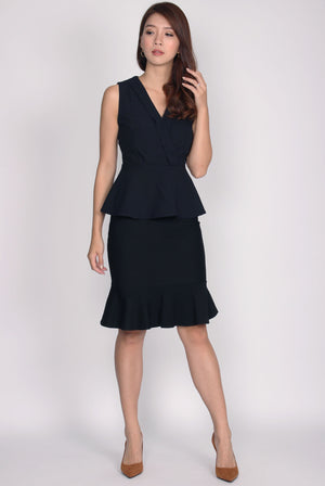 TDC Herminia Vest Peplum Top In Midnight Blue