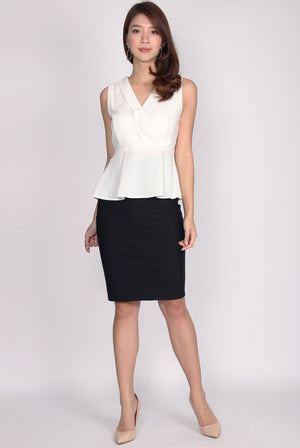 TDC Herminia Vest Peplum Top In White