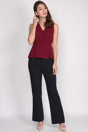 TDC Herminia Vest Peplum Top In Wine Red