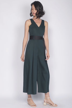 *Premium* TDC Hermione Flare Sash Jumpsuit In Forest Green