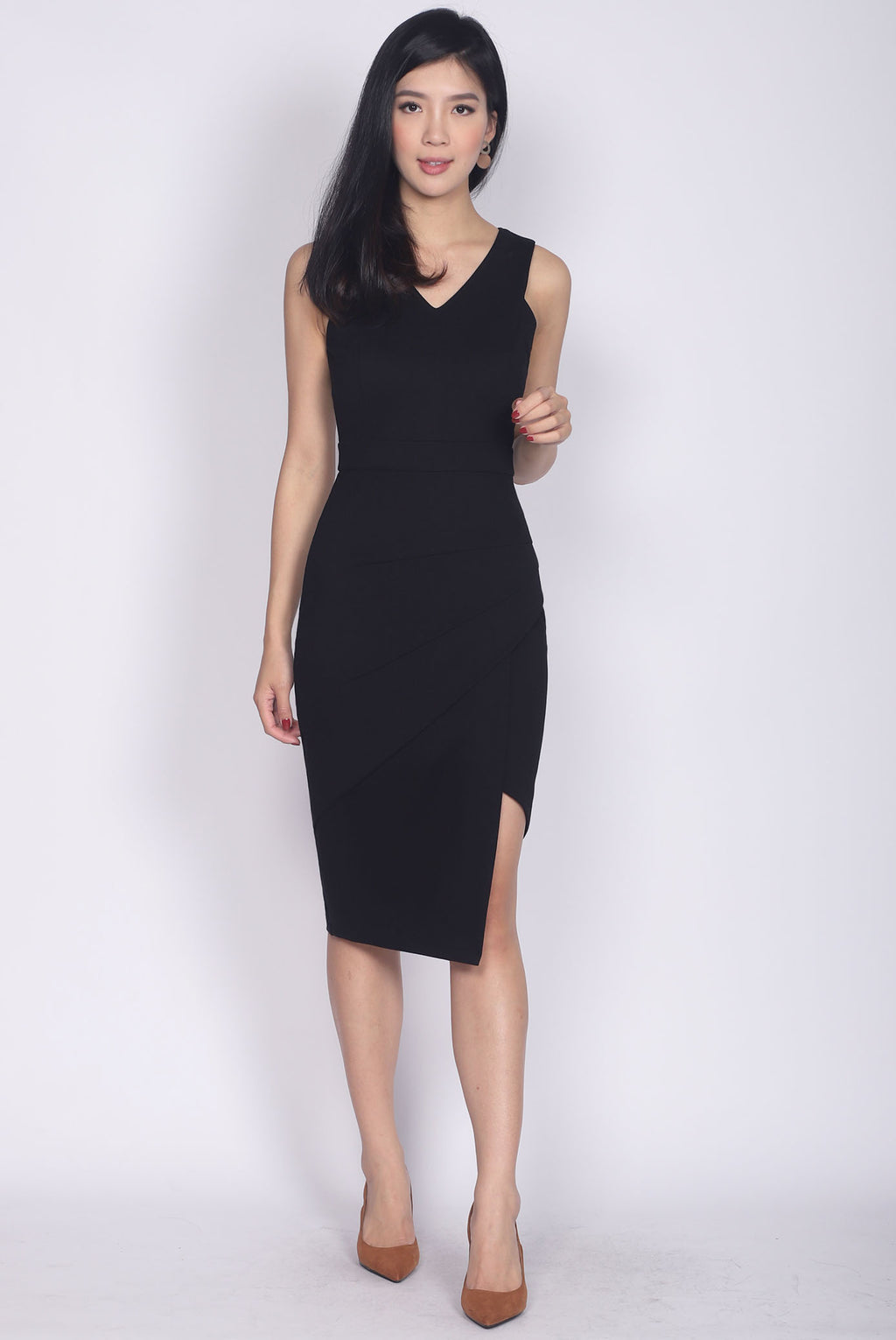 *Backorder*Premium* TDC Jetta Origami Slit Dress In Black