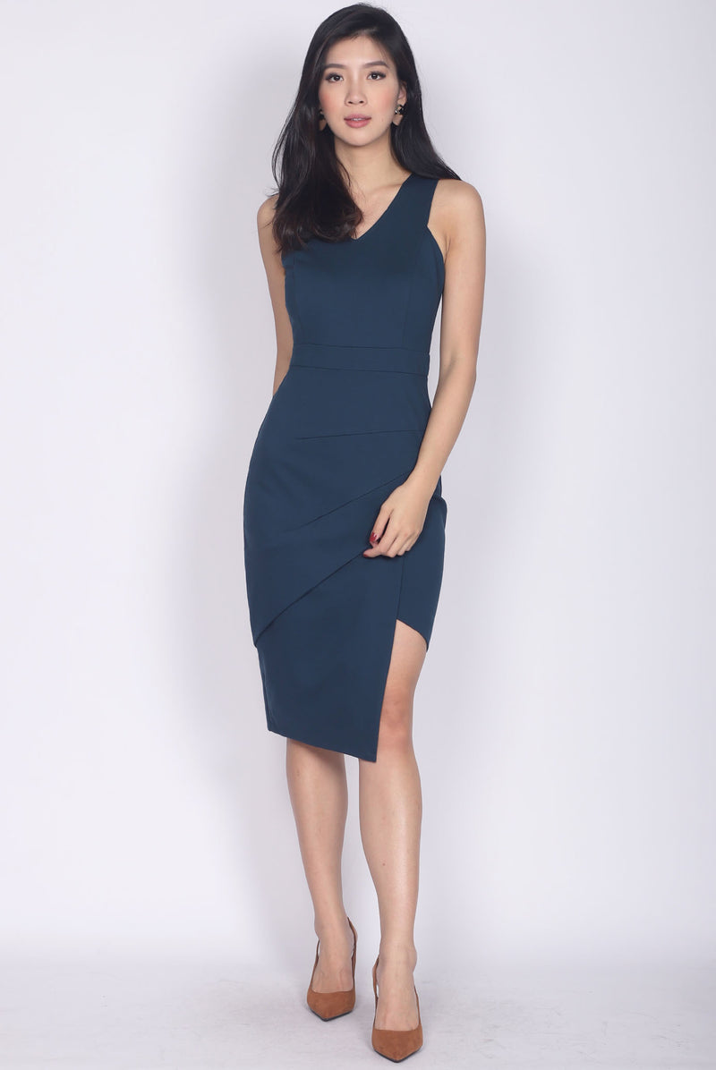 *Backorder*Premium* TDC Jetta Origami Slit Dress In Midnight Teal