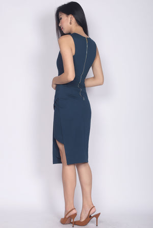 *Premium* TDC Jetta Origami Slit Dress In Midnight Teal