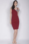 *Premium* TDC Keisha Floral Drop Shoulder Dress In Wine Red