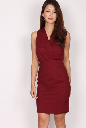 TDC Labylle Crossover Pencil Dress In Wine Red