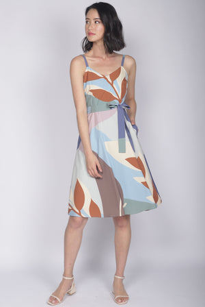 TDC Lettie Leafy Abstract Flare Dress In Earth