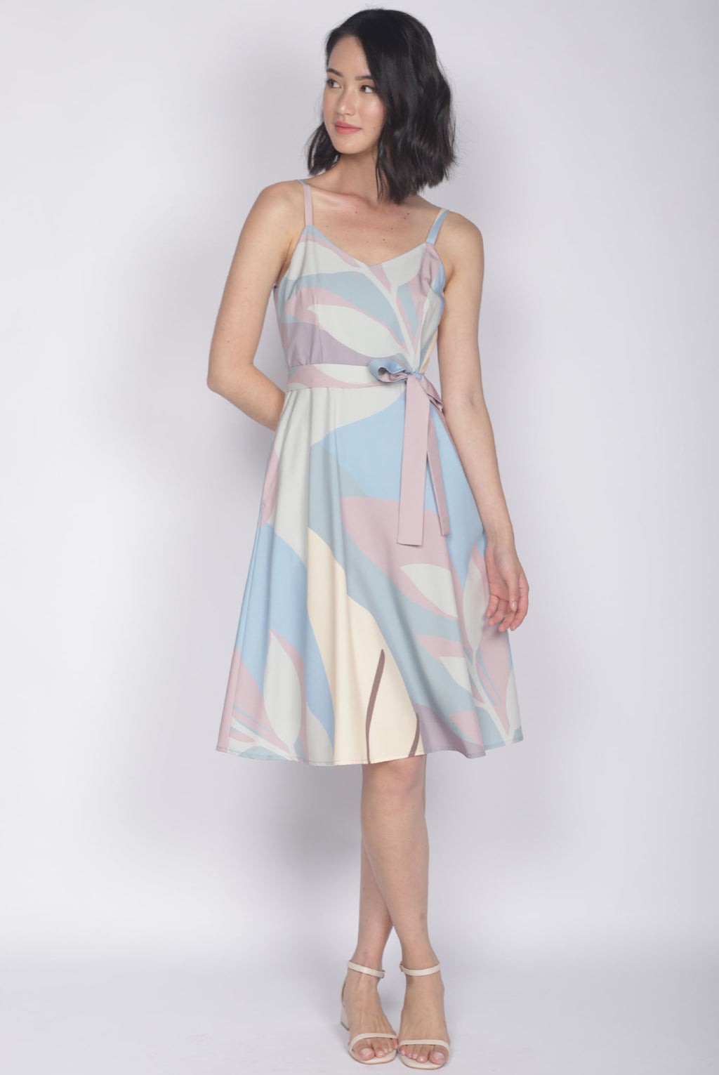 TDC Lettie Leafy Abstract Flare Dress In Pastel