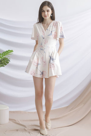 TDC Liisa Buttons Sleeved Romper In Cream
