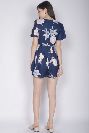 TDC Liisa Buttons Sleeved Romper In Navy Blue