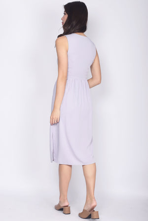 TDC Ludmila Buttons Slit Dress In Lilac Grey