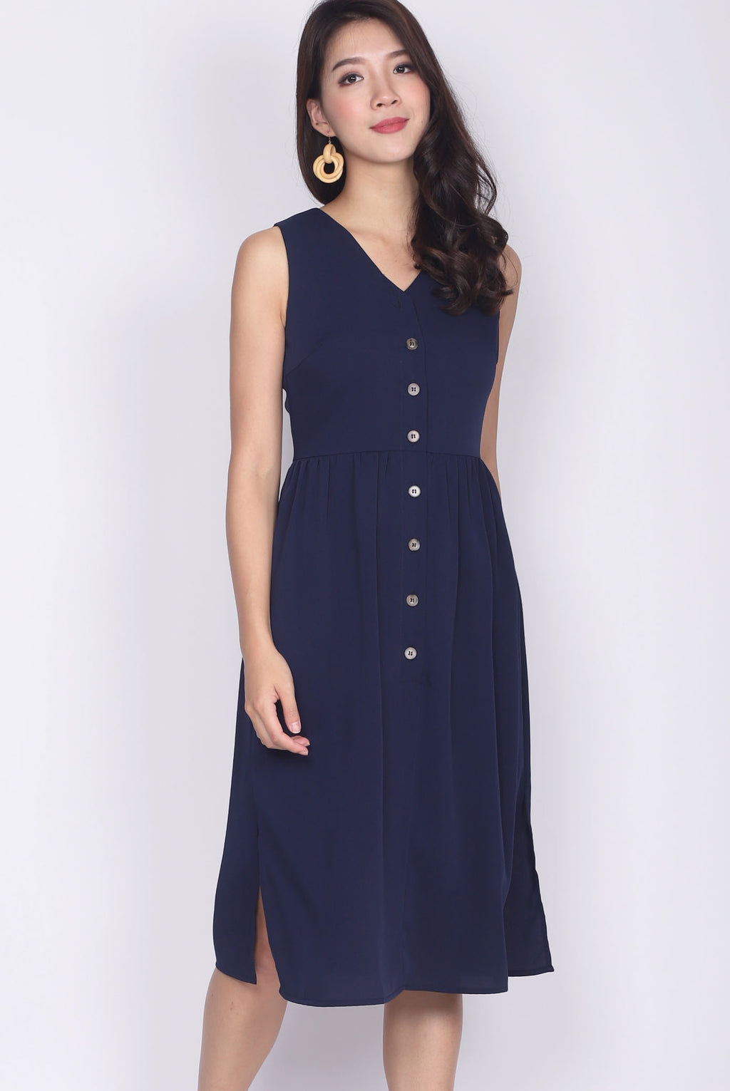 TDC Ludmila Buttons Slit Dress In Navy Blue