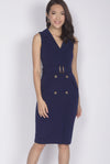 *Premium* TDC Margrete Trench Work Dress In Navy Blue