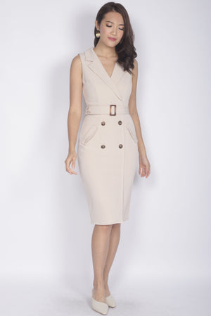 *Premium* TDC Margrete Trench Work Dress In Wheat