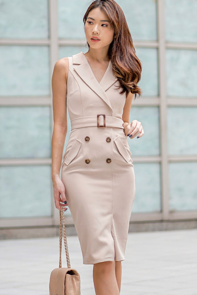 *Backorder*Premium* TDC Margrete Trench Work Dress In Wheat
