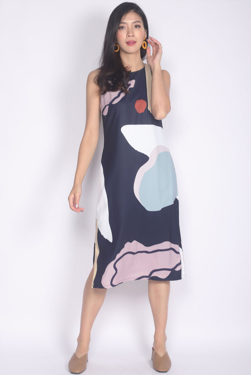 TDC Mariska Abstract Side Slit Dress In Navy Blue