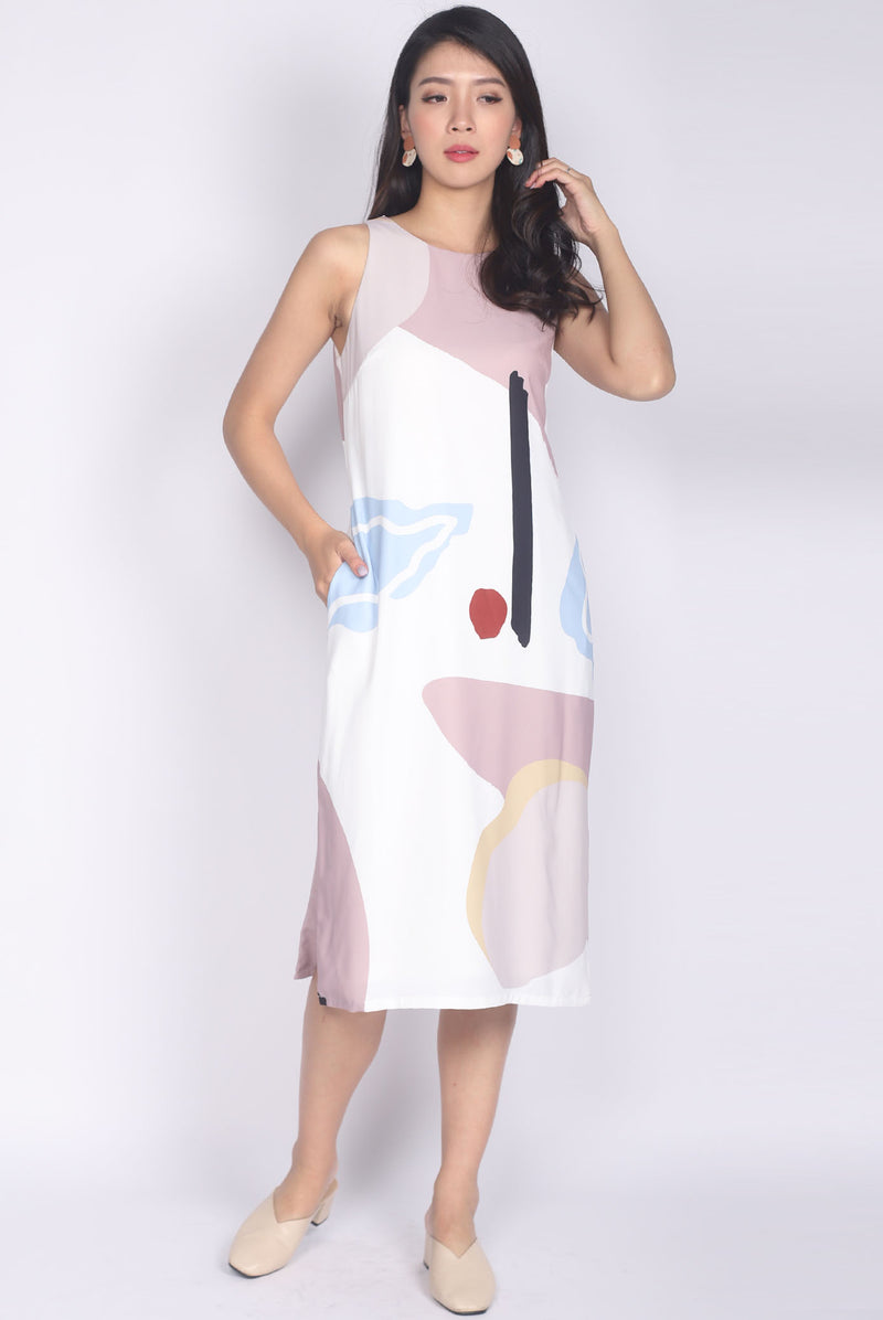 TDC Mariska Abstract Side Slit Dress In White