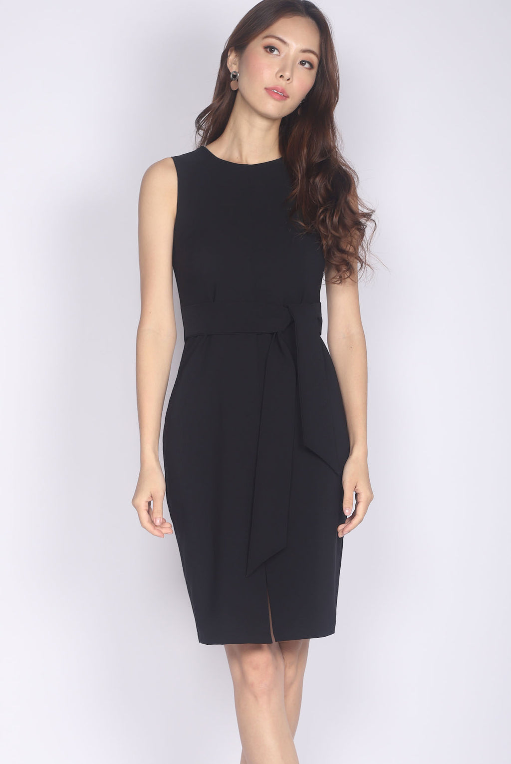 TDC Medora Tie Waist Pencil Dress In Black
