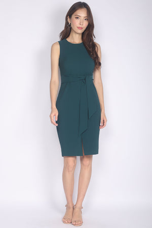 TDC Medora Tie Waist Pencil Dress In Forest Green