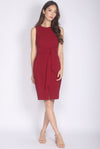 TDC Medora Tie Waist Pencil Dress In Wine Red