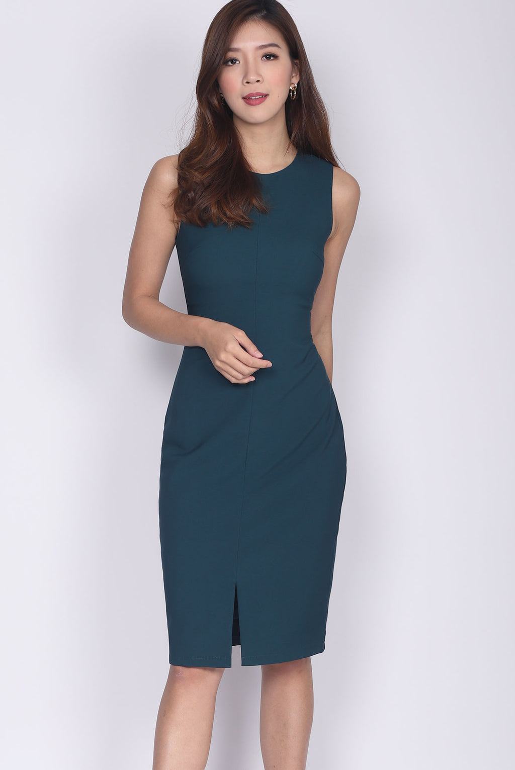*Backorder* TDC Montrel Classic Midi Dress In Forest Green