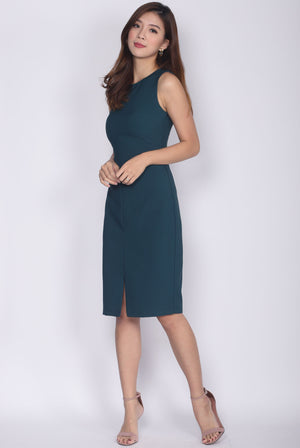 TDC Montrel Classic Midi Dress In Forest Green