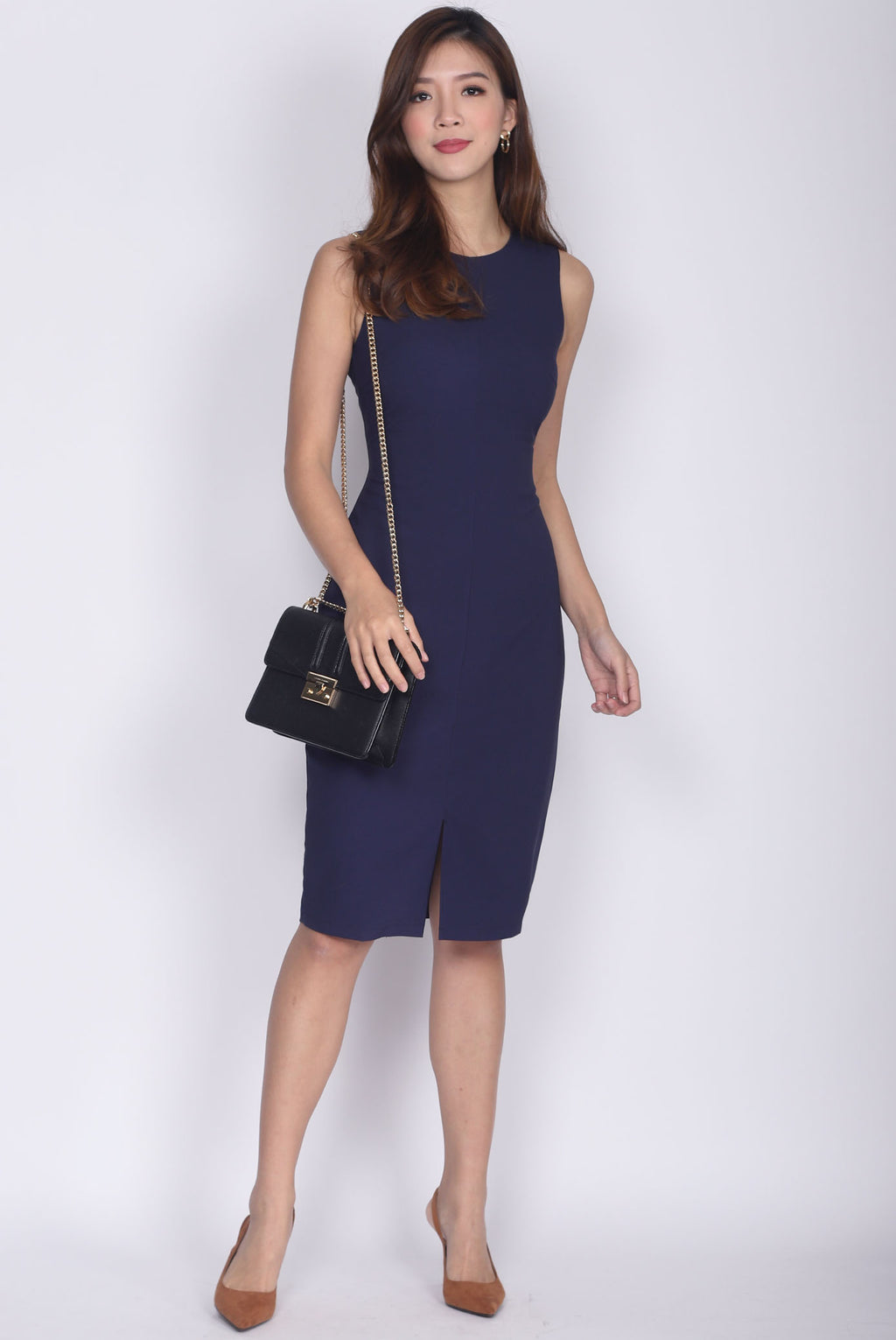 *Restocked* TDC Montrel Classic Midi Dress In Navy Blue