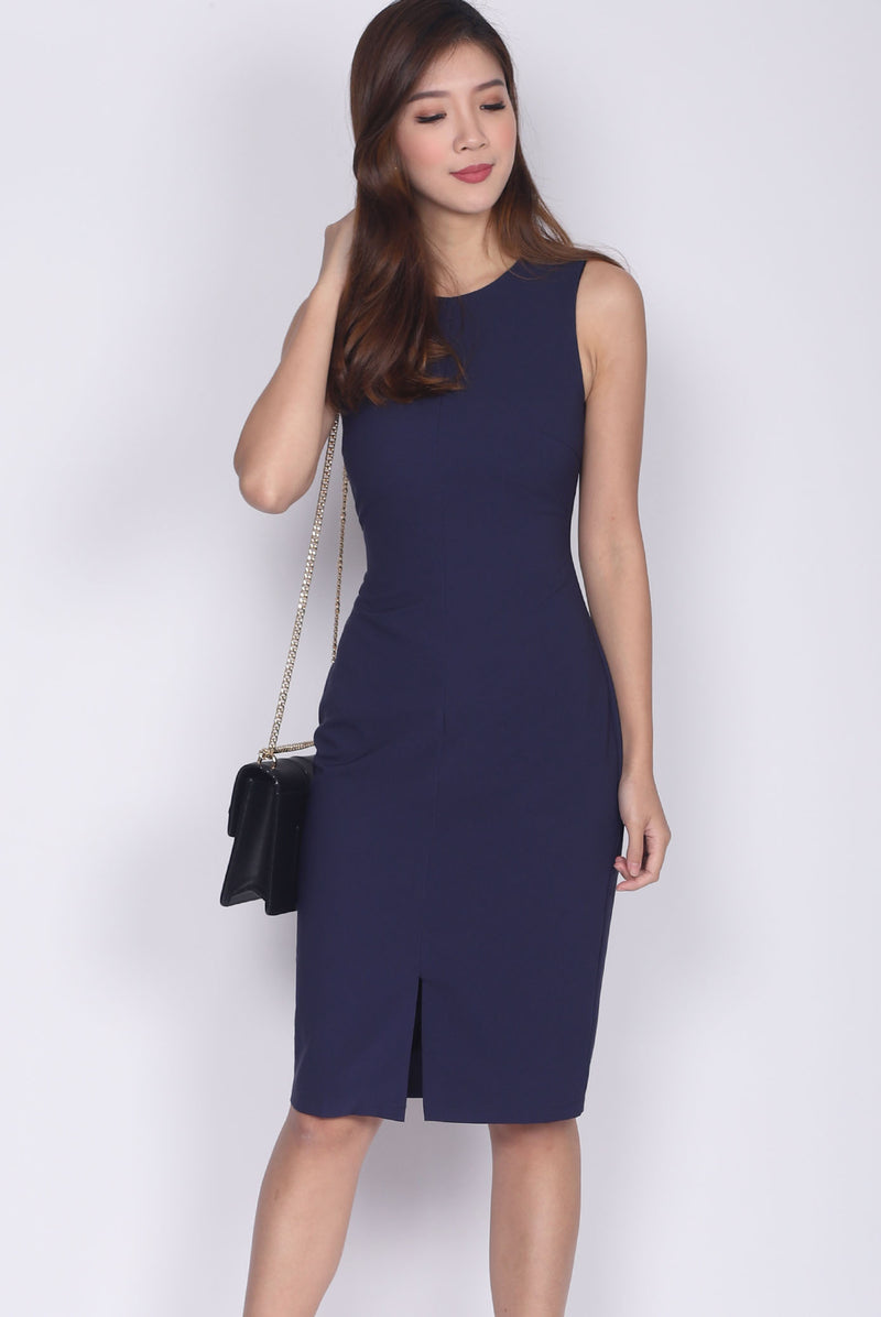 TDC Montrel Classic Midi Dress In Navy Blue