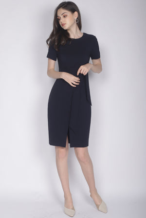 TDC Norella Sleeved Tie Waist Pencil Dress In Midnight Blue