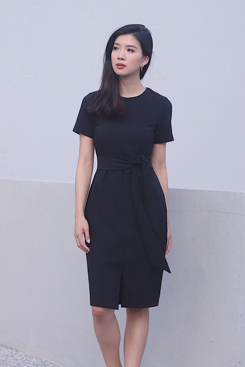 TDC Norella Sleeved Tie Waist Pencil Dress In Black