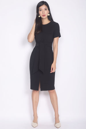 *Restocked* TDC Norella Sleeved Tie Waist Pencil Dress In Black