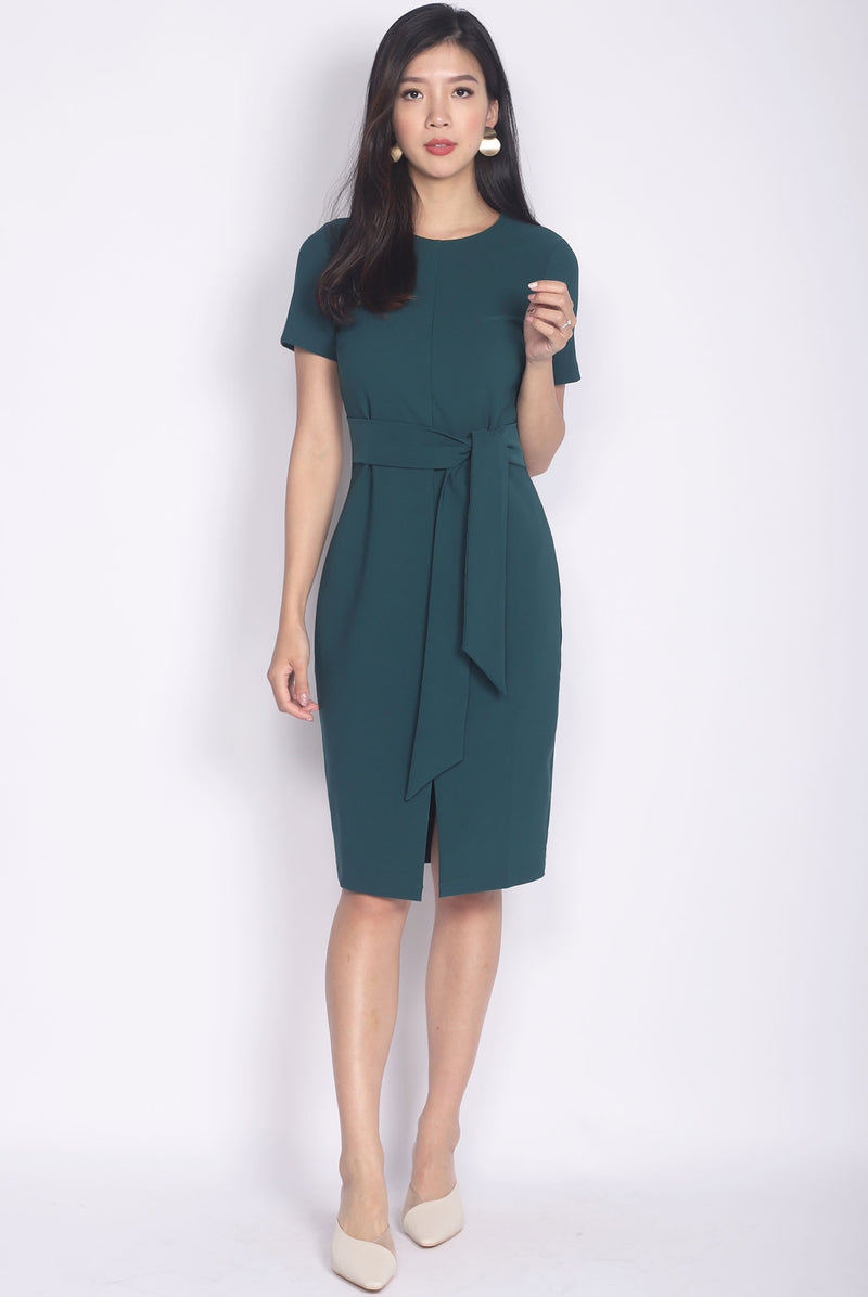 TDC Norella Sleeved Tie Waist Pencil Dress In Forest Green