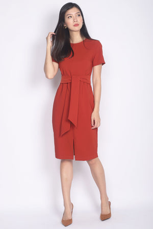 TDC Norella Sleeved Tie Waist Pencil Dress In Rust