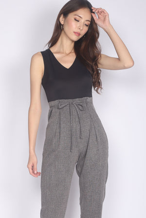 TDC Ombretta Tweed Tapered Paperbag Jumpsuit In Black