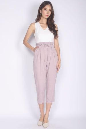 TDC Ombretta Tweed Tapered Paperbag Jumpsuit In Pink