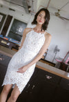 *Premium* TDC Paislee Crochet Cut In Back Dress In White