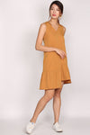 TDC Pippa Sleeveless Step Ladder Dress In Marigold