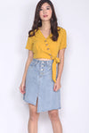 TDC Quorra Buttons Wrap Top In Mustard