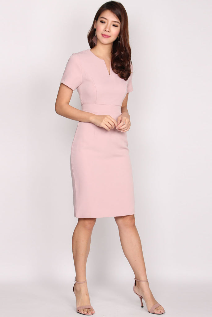 TDC Ralohice V Neck Pencil Dress In Blush