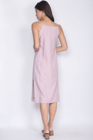TDC Rapunzel Side Slit Buttons Dress In Lilac Pink