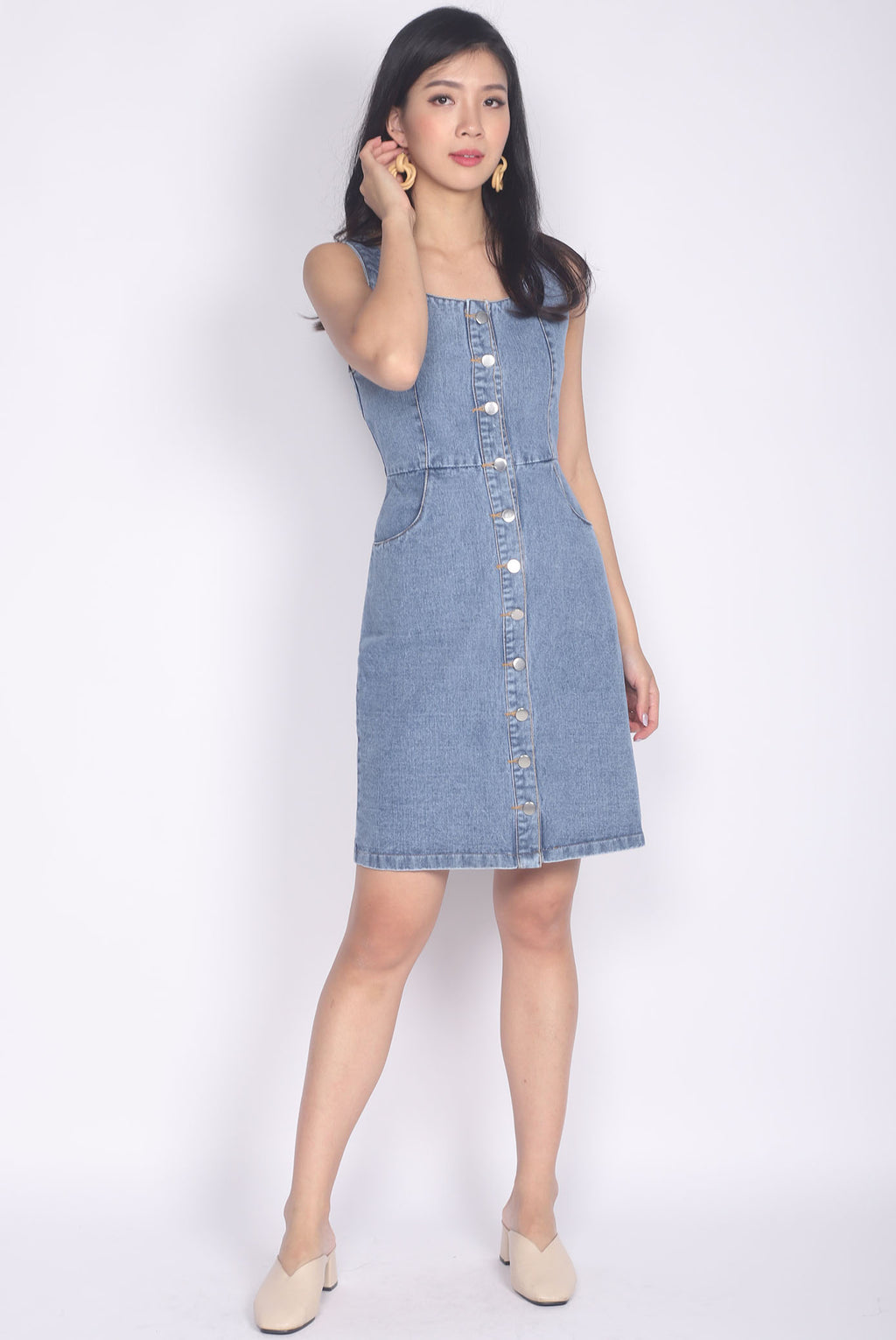 TDC Septima Buttons Denim Dress In Dark Wash