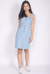 TDC Septima Buttons Denim Dress In Light Wash