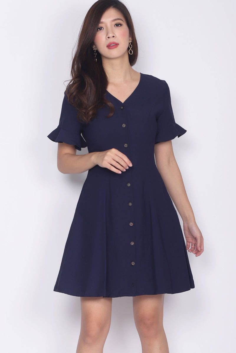 TDC Solange Flutter Sleeve Buttons Down Dress In Navy Blue