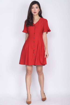 TDC Solange Flutter Sleeve Buttons Down Dress In Rust Red