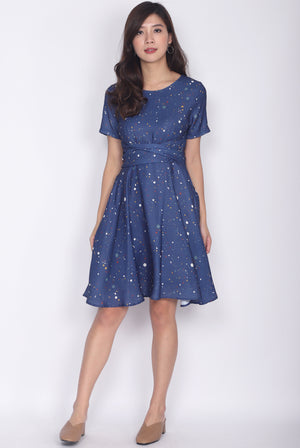 TDC Twilight Terrazzo Multi Ways Sash Swing Dress in Navy Blue