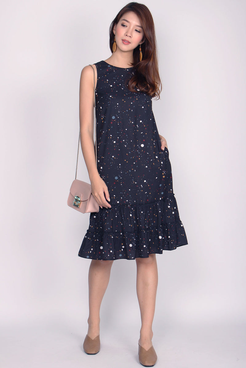 *Restock* TDC Twilight Terrazzo Tiered Dress In Black