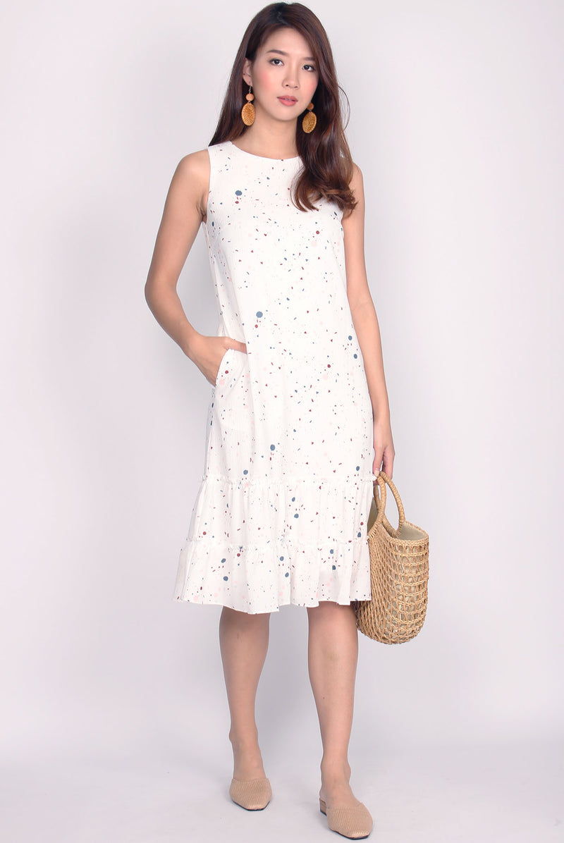 *Restock* TDC Twilight Terrazzo Tiered Dress In White
